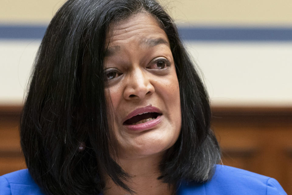 Rep. Pramila Jayapal, D-Wash., testifies about her decision to have an abortion, Thursday, Sept. 30, 2021, during a House Committee on Oversight and Reform hearing on Capitol Hill in Washington. (AP Photo/Jacquelyn Martin)