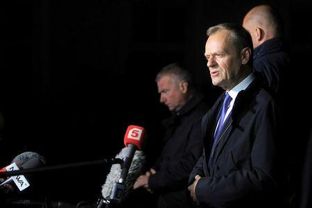 Donald Tusk, the President of the European Council speaks to the media after hearings at the Prosecutor's office in Warsaw, Poland April 19, 2017.  Agencja Gazeta/Przemek Wierzchowski via REUTERS