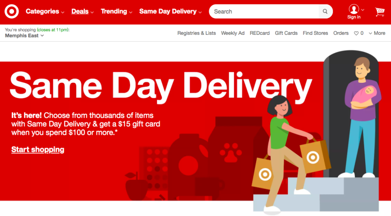 Target to deliver on same day for a fee