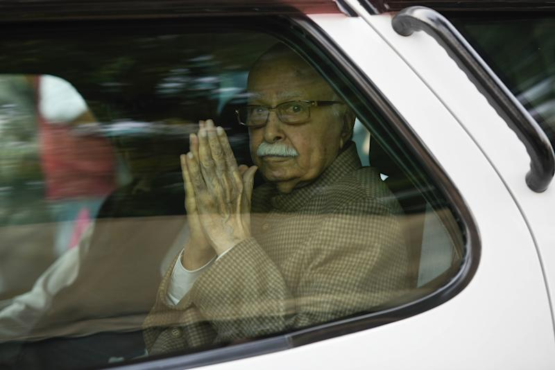 NEW DELHI, INDIA - NOVEMBER 27: Bharatiya Janata Party (BJP) leader LK Advani arrives to attend the ongoing winter session of Parliament, at Parliament House, on November 27, 2019 in New Delhi, India. Finance Minister Nirmala Sitharaman on Wednesday told the Parliament that if you see that growth may have come down but it is not a recession yet, it will not be a recession ever. And, Home Minister Amit Shah launched a sharp counter-offensive at the Congress on Wednesday over criticism that political vendetta had driven the move to replace the Gandhi family's SPG security cover with the CRPF. (Photo by Burhaan Kinu/Hindustan Times via Getty Images)
