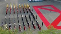 A band is seen ahead of the inter-Korean summit at the truce village of Panmunjom, in this still frame taken from video, South Korea April 27, 2018. Host Broadcaster via REUTERS TV