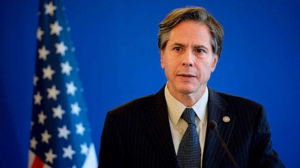 PHOTO: In this June 2, 2015, file photo, former Deputy Secretary of State Antony J Blinken gives a joint press conference following a meeting with Foreign Affairs members of the anti-Islamic State coalition in Paris. (Stephane De Sakutin/AFP via Getty Images, FILE)