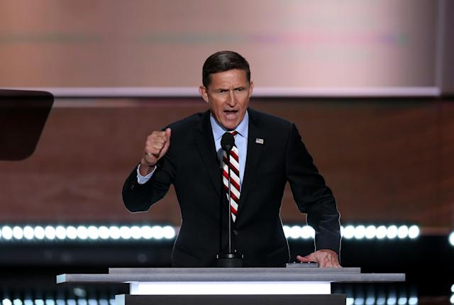 Michael Flynn addresses the Republican National Convention in Cleveland, Ohio, on July 18, 2016. (Photo: David Paul Morris/Bloomberg via Getty Images)