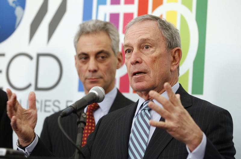 FILE - In this March 8, 2012 file photo, New York City Mayor Michael Bloomberg speaks at a news conference in Chicago as Chicago Mayor Rahm Emanuel looks on. The surveillance of Muslims by the New York Police Department, detailed in a series of stories by The Associated Press, has been harshly criticized by some Muslim, civic and university leaders as an unconstitutional invasion of privacy. Bloomberg has defended the NYPD's efforts. (AP Photo/M. Spencer Green)
