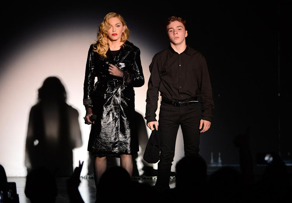Madonna and Rocco Ritchie perform during Madonna and Steven Klein secretprojectrevolution at the Gagosian Gallery on September 24, 2013 in New York City.  (Photo by Kevin Mazur/Getty Images)