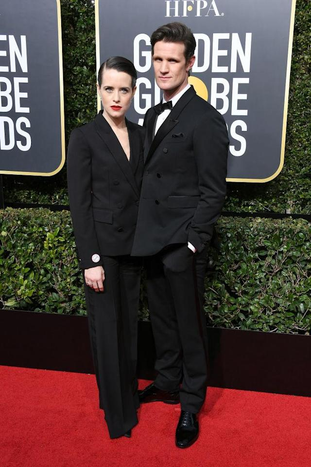 <p><em>The Crown</em> co-stars attend the 75th Annual Golden Globe Awards at the Beverly Hilton Hotel in Beverly Hills, Calif., on Jan. 7, 2018. (Photo: Steve Granitz/WireImage) </p>