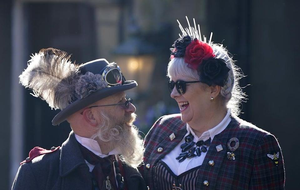 Costumed revellers at the Haworth Steampunk Weekend, in the Pennine hills village, West Yorkshire (Danny Lawson/PA) (PA Wire)