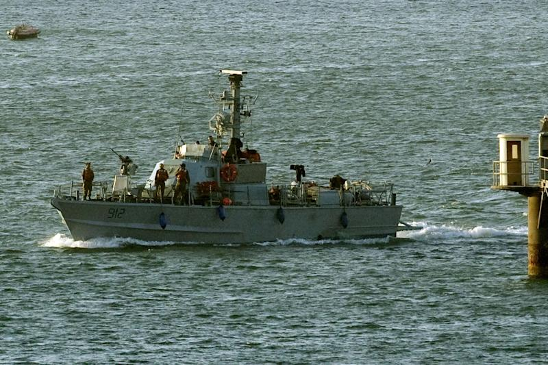 An Israeli navy vessel enters the southern Israeli port of Ashdod on March 15, 2011