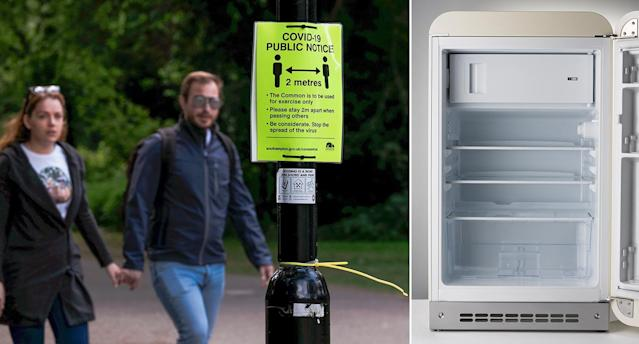 The government has been mocked for a social distancing tweet telling people to remain 'three fridges' apart. (PA)