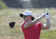 Ireland's Leona Maguire plays a driver off the 5th tee during the final round of the Women's British Open golf championship, in Carnoustie, Scotland, Sunday, Aug. 22, 2021. (AP Photo/Scott Heppell)