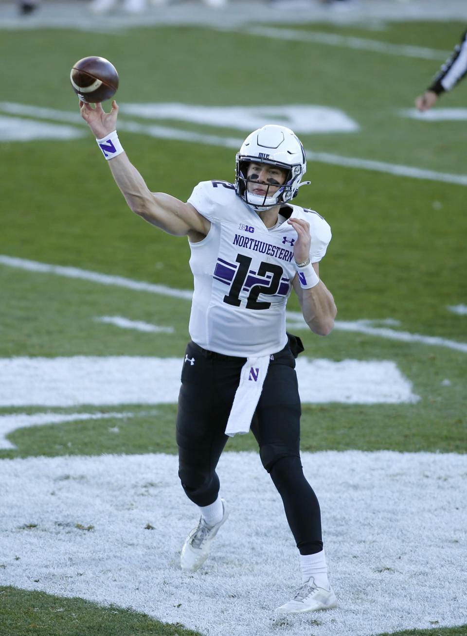 Northwestern quarterback Peyton Ramsey passes against Michigan State during the first half of an NCAA college football game, Saturday, Nov. 28, 2020, in East Lansing, Mich. (AP Photo/Al Goldis)