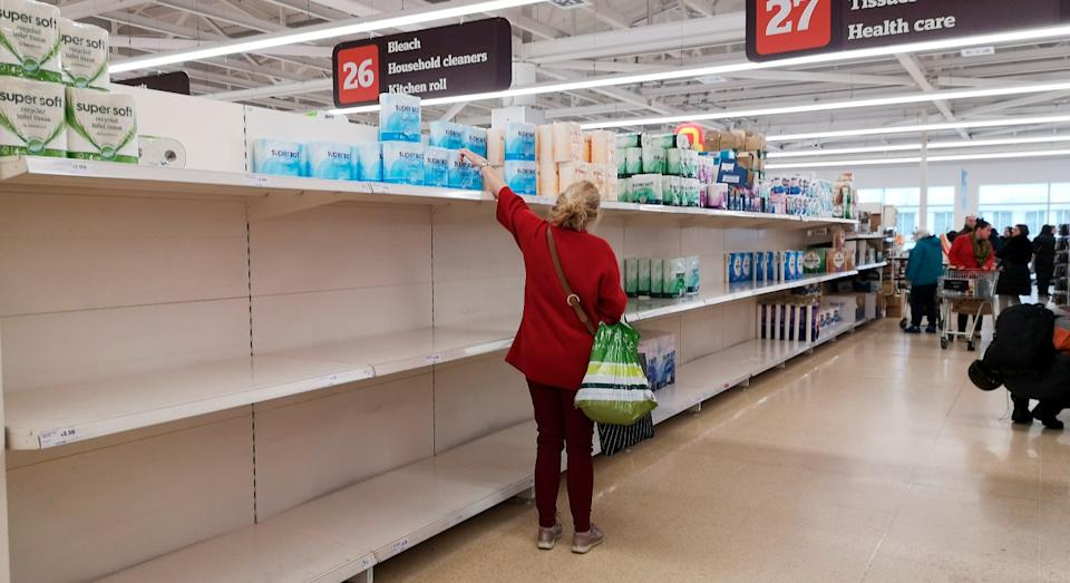 Toilet paper was one of the first things to clear off the shelves during the first lockdown in March (Getty)