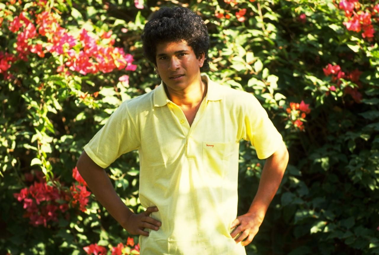 Oct 1989:  Sachin Tendulkar of India relaxes in Lahore, Pakistan. \ Mandatory Credit: Ben  Radford/Allsport
