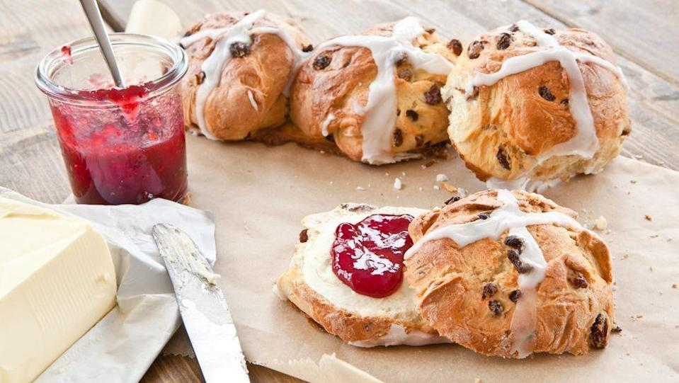 """<p>Because Easter jus wouldn't be the same without a big plate of hot cross buns.</p><p><strong><a href=""""https://www.countryliving.com/food-drinks/recipes/a1582/hot-cross-buns-3699/"""" rel=""""nofollow noopener"""" target=""""_blank"""" data-ylk=""""slk:Get the recipe"""" class=""""link rapid-noclick-resp"""">Get the recipe</a>. </strong></p>"""
