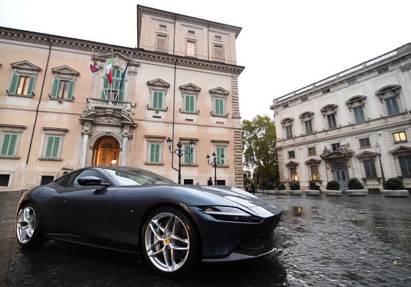 FILE PHOTO: The new Ferrari Roma is senn outside the Quirinale Presidential Palace in Rome
