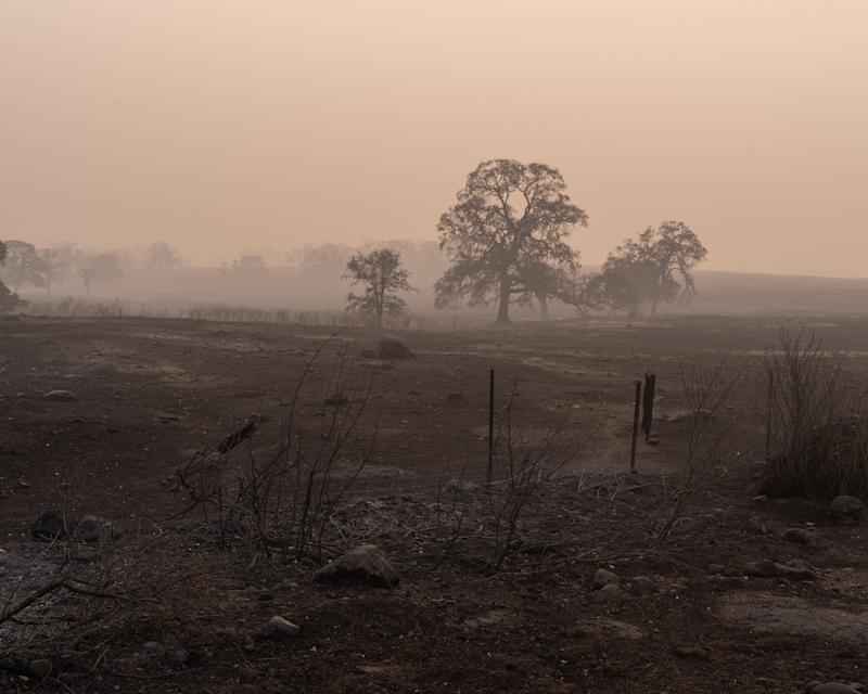 Views from a burned and smokey section of Skyway Road leading to Paradise. (Cayce Clifford for HuffPost)