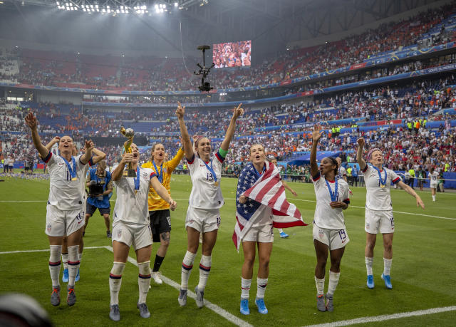 LYON, FRANCE - JULY 07: Players of the USA celebrate following their sides victory in the 2019 FIFA Women's World Cup France Final match between The United States of America and The Netherlands at Stade de Lyon on July 07, 2019 in Lyon, France. (Photo by Maja Hitij/Getty Images)