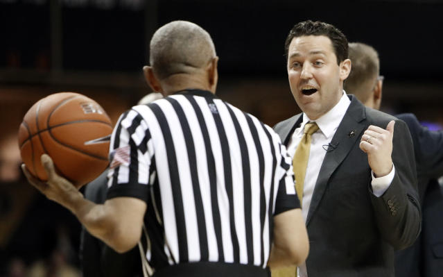 Vanderbilt coach Bryce Drew argues a call during the first half of the team's NCAA college basketball game against South Carolina on Wednesday, Jan. 16, 2019, in Nashville, Tenn. (AP Photo/Mark Humphrey)