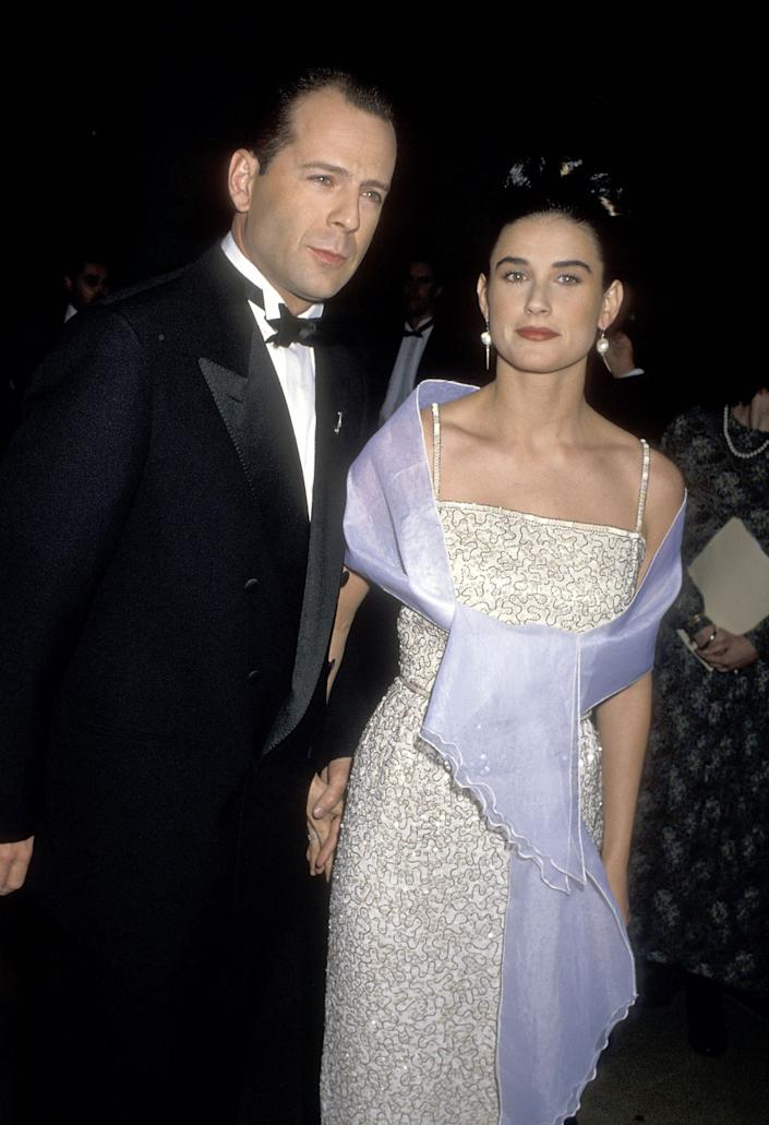 Bruce Willis and Demi Moore at the 47th Annual Golden Globe Awards in January 1990. (Getty Images)