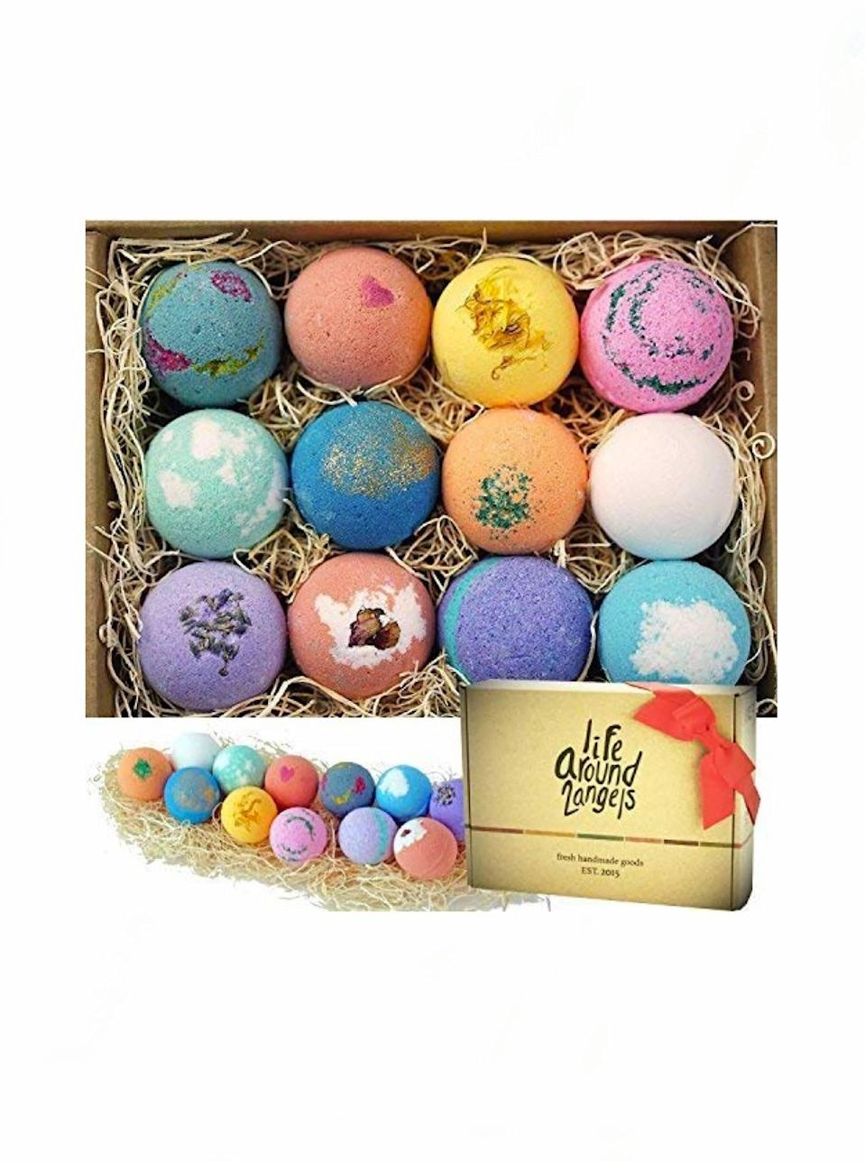 "Before you complete your relaxation bundle, add these popular handcrafted bath bombs to cart. The cute and colorful set will be a savior for anyone dealing with dry skin, or looking for IG Story content. $27, Amazon. <a href=""https://www.amazon.com/dp/B01MFGN8S5/"" rel=""nofollow noopener"" target=""_blank"" data-ylk=""slk:Get it now!"" class=""link rapid-noclick-resp"">Get it now!</a>"