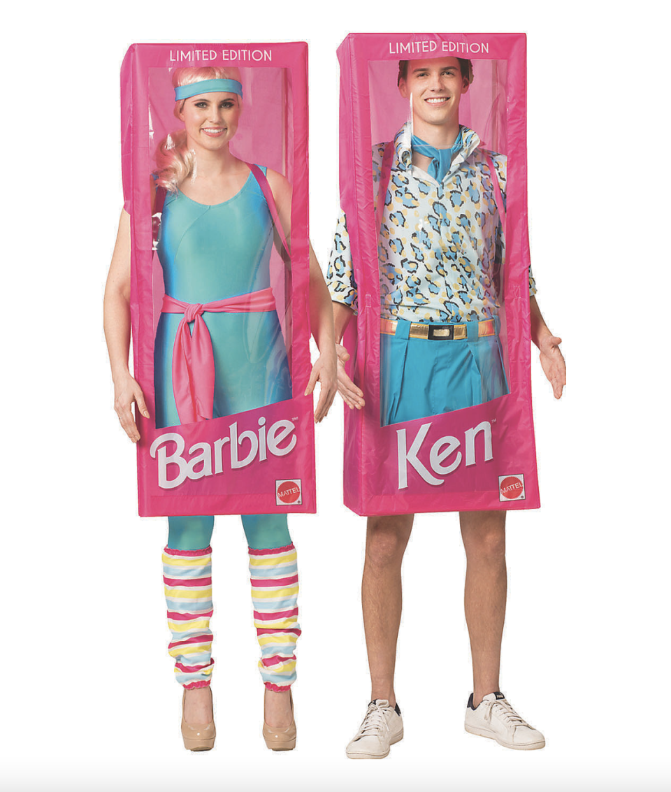 Barbie and Ken Couple Costumes with barbie and ken pink boxes