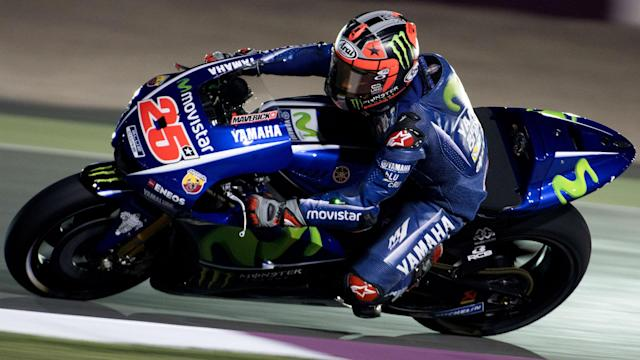 A first crash in an official session for Yamaha did not stop Maverick Vinales from tightening his grip on the Qatar Grand Prix field.