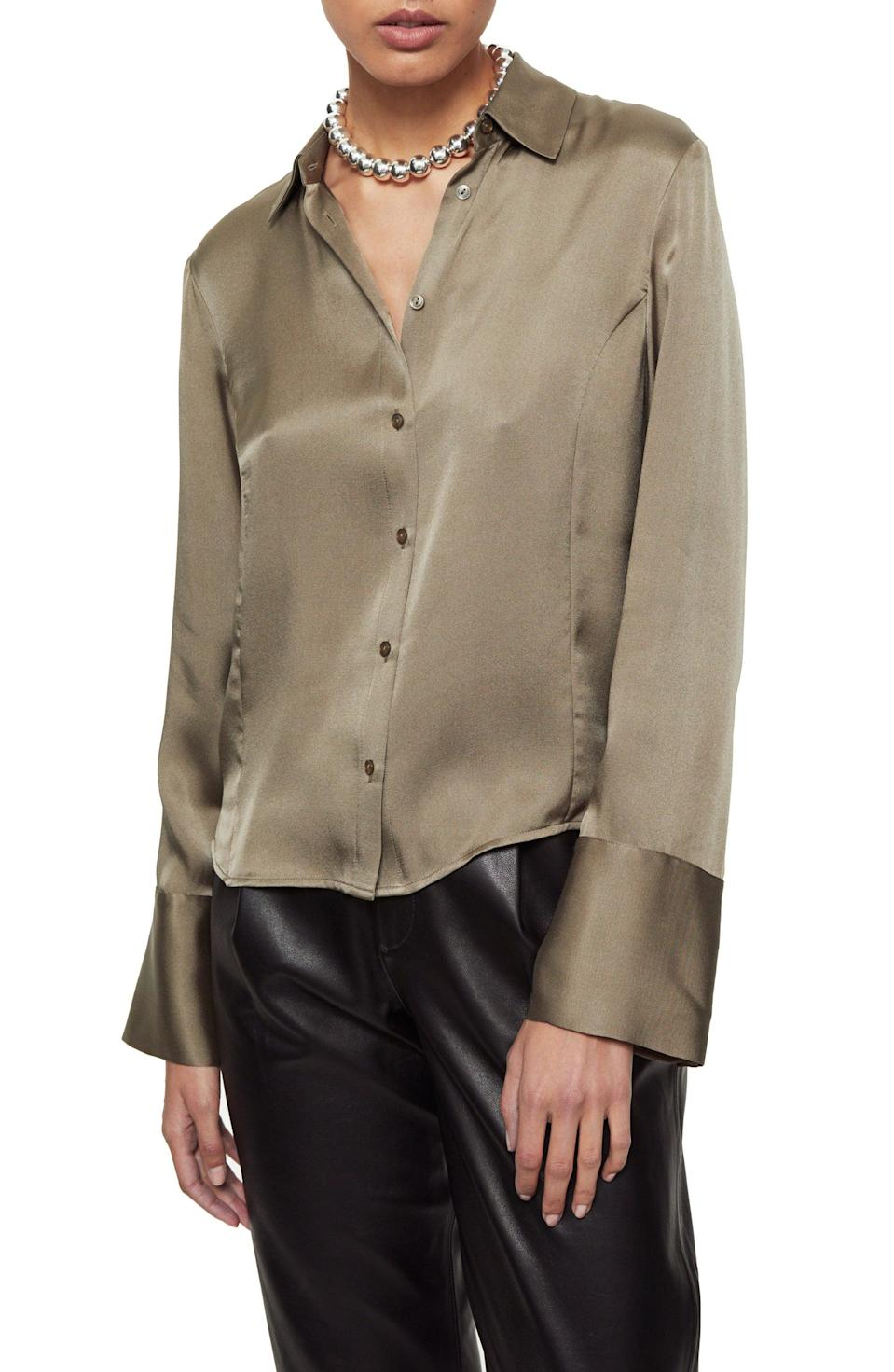 <p>This splurge-worthy <span>Anine Bing Mackenzie Silk Button-Up Top</span> ($299) will be worn year-round.</p>