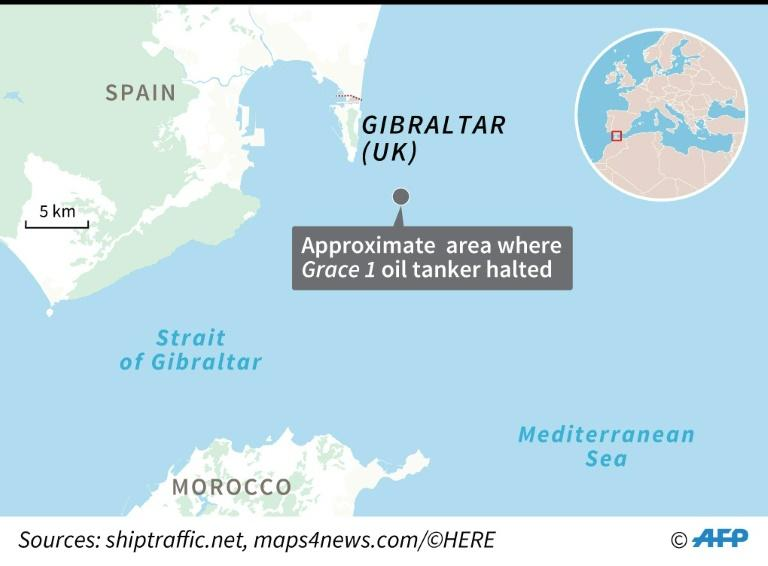 Map locating the area where an oil tanker, thought to be heading for Syria, was seized off Gibraltar (AFP Photo/)