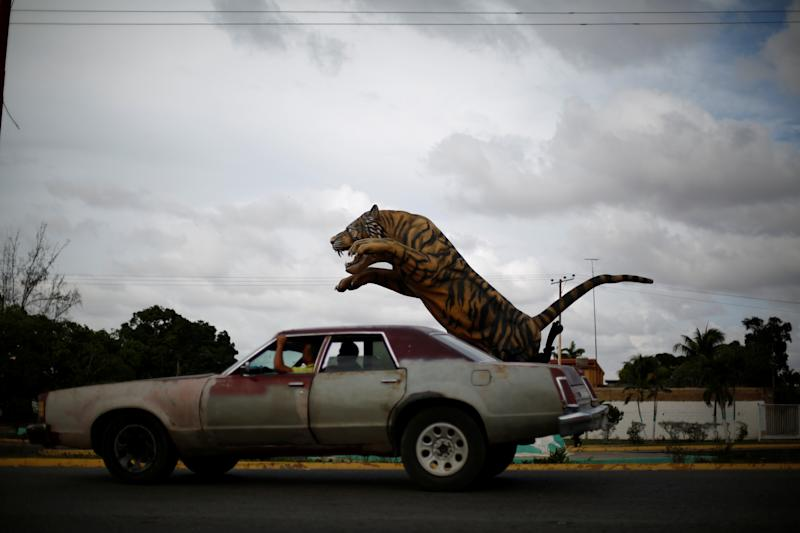 A sculpture depicting a tiger in El Tigre, Venezuela, on June 4. (Photo: Ivan Alvarado/Reuters)