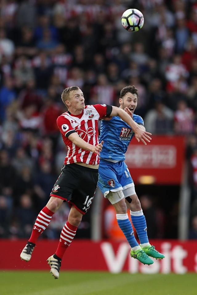 <p>Southampton's James Ward-Prowse in action with Bournemouth's Adam Smith </p>