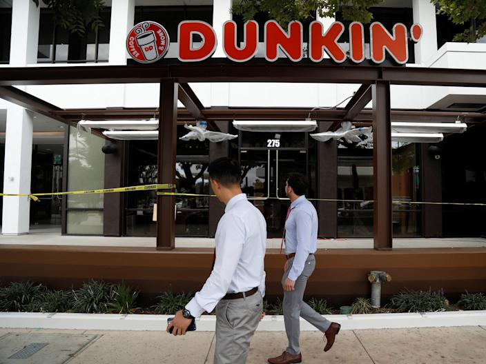 FILE PHOTO: A Dunkin' store, the first since a rebranding by the Dunkin' Donuts chain, is pictured ahead of its opening in Pasadena