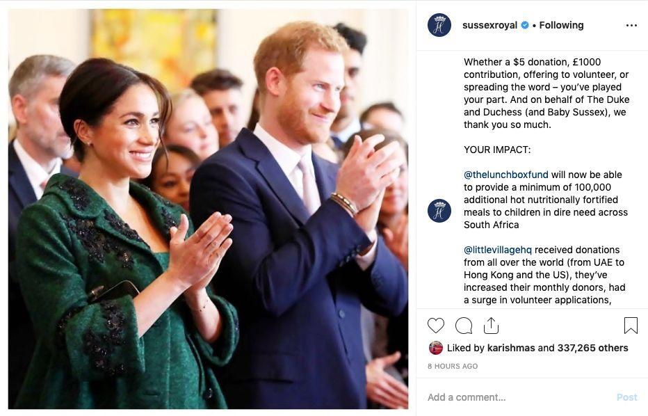 Notice how they signed off with 'Baby Sussex'. Photo: Instagram/Sussexroyal