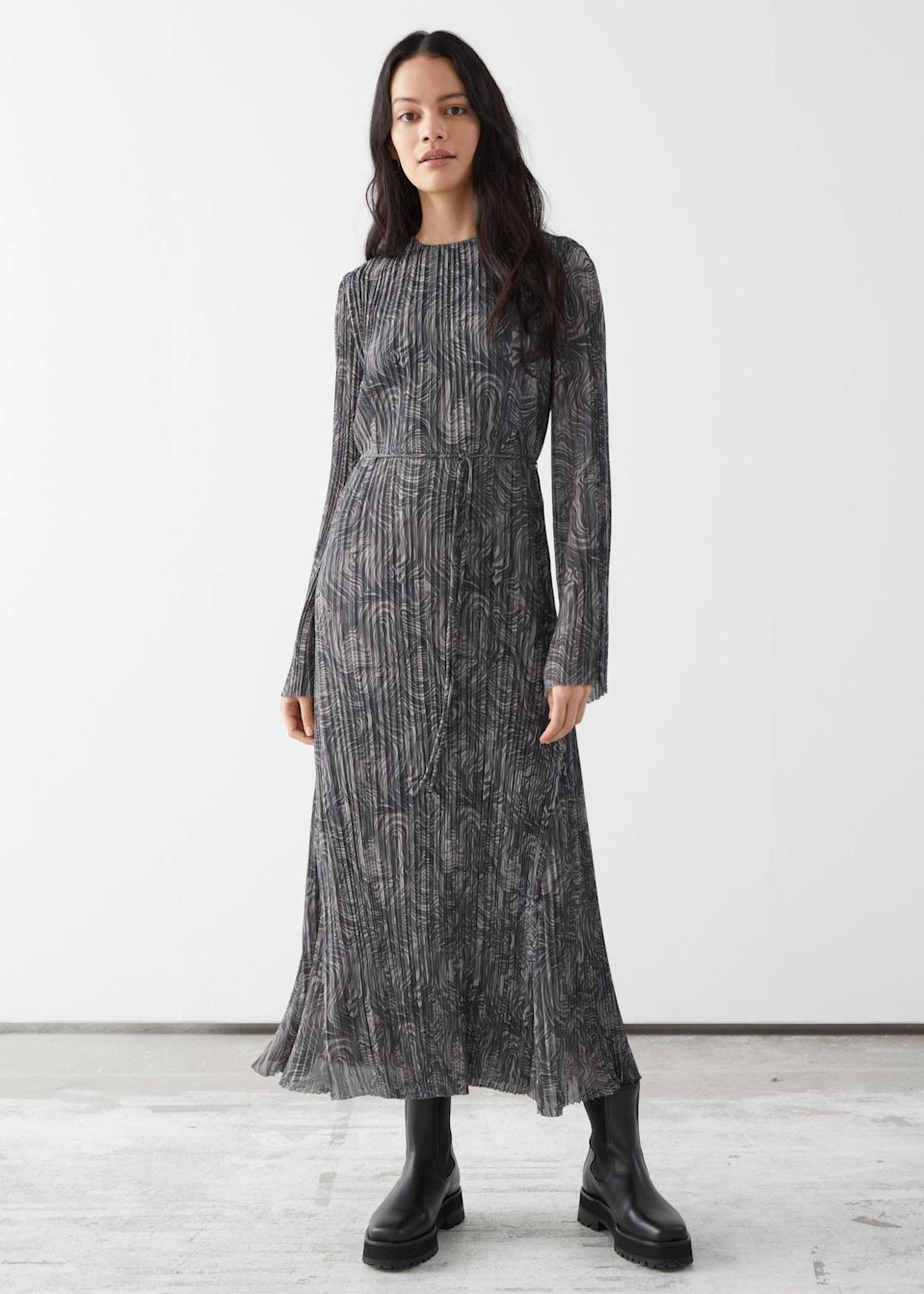 <p>This <span>Pleated Belted Floaty Maxi Dress</span> ($129) is easygoing and effortlessly stylish.</p>