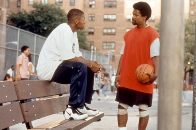 <em>He Got Game</em>, which turns 20 this year, stars then-NBA basketball player Ray Allen in his first-acting role, as the iconic high school phenom Jesus Shuttlesworth. Denzel Washington plays his estranged father, the incarcerated Jake Shuttlesworth. (Photo: Everett Collection)