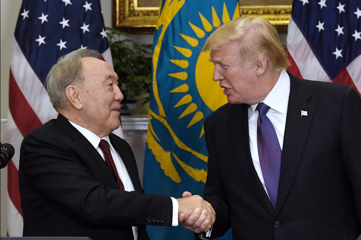 Donald Trump with President Nursultan Nazarbayev of Kazakhstan during a joint press conference at the White House, Jan. 16, 2018. (Photo: Olivier Douliery/Pool via Bloomberg/Getty Images)