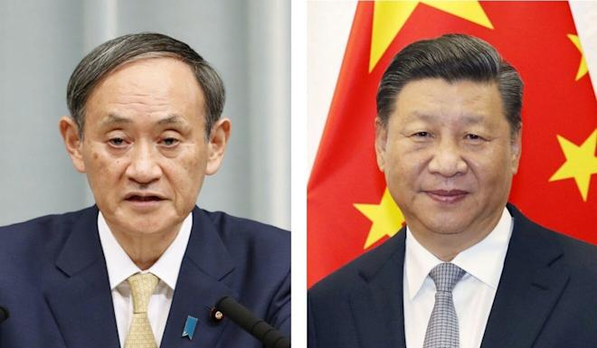 Japanese Prime Minister Yoshihide Suga (left) and Chinese President Xi Jinping (right) spoke on the phone on Friday. Photo: Kyodo