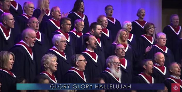 """The choir of First Baptist Dallas performs at """"Celebrate Freedom Sunday"""" on June 28, 2020. (Photo: First Baptist Dallas / YouTube / Screenshot)"""