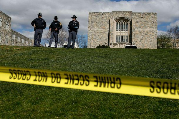 PHOTO: Virginia State Police stand guard outside Norris Hall, where 31 people were shot and killed a day earlier on the campus of Virginia Tech, April 17, 2007 in Blacksburg, Va. (Chip Somodevilla/Getty Images)