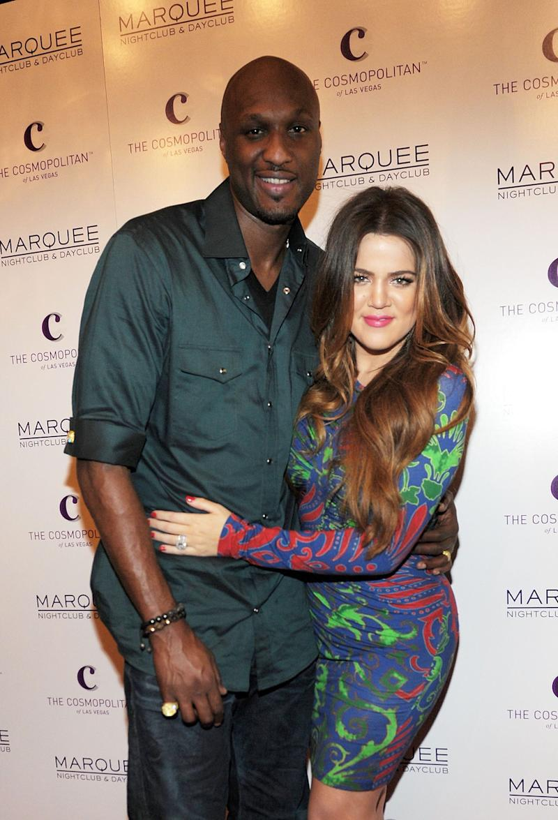 Lamar Odom and Khloe Kardashian in Las Vegas on Oct. 22, 2011. (Photo: Denise Truscello via Getty Images)