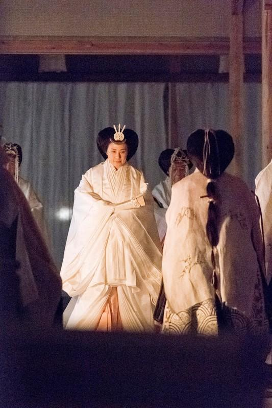 Japan's Empress Masako attends the 'Daijosai', the most overtly religious ceremony of the Emperor Naruhito's accession rituals, at the Imperial Palace in Tokyo, Japan
