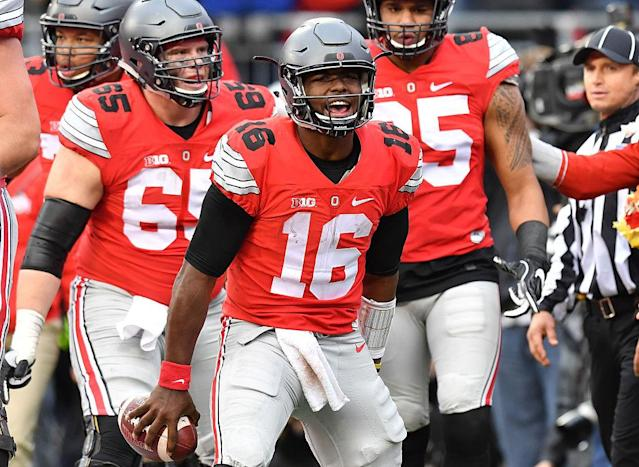 Ohio State defeated Michigan last week to stake its claim as the No. 2 team in the College Football Playoff. (Getty)