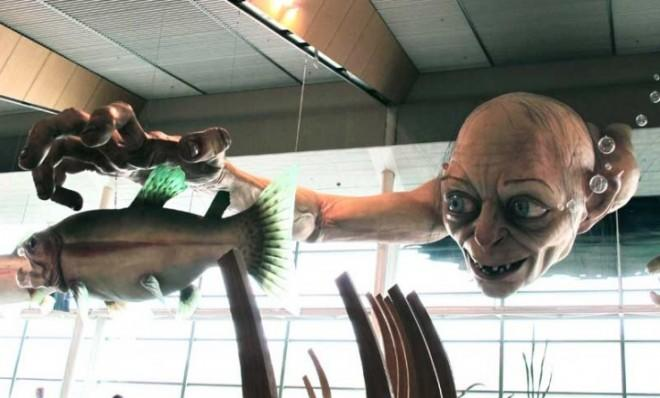 A giant sculpture of Gollum, a character from The Hobbit, welcomes visitors at the Wellington Airport in New Zealand.