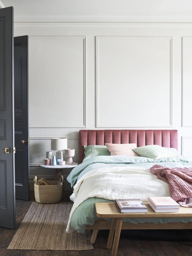 """<p>Pink gives personality, warmth and atmosphere to a room. For a quick style update, why not invest in a sumptuously soft pink bed frame? For a luxurious hotel-worthy touch, we recommend choosing velvet. You won't regret it. </p><p>When it comes to your walls, strip it back and opt for a white paint with hints of grey to create a modern, serene look.</p><p>• Maisy ottoman bed frame, <a href=""""https://www.dreams.co.uk/maisy-upholstered-ottoman-bed-frame/p/251-00384"""" rel=""""nofollow noopener"""" target=""""_blank"""" data-ylk=""""slk:House Beautiful collection at Dreams"""" class=""""link rapid-noclick-resp"""">House Beautiful collection at Dreams</a></p>"""