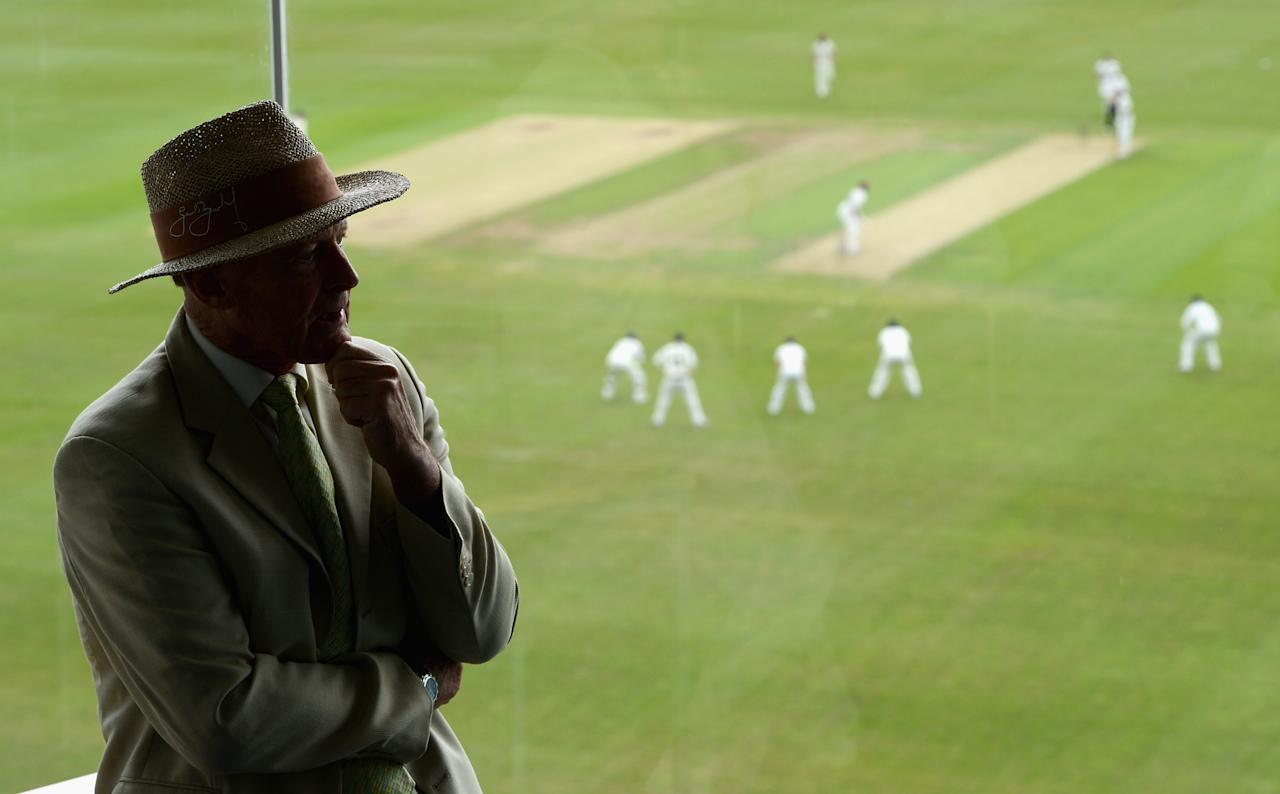 LEEDS, ENGLAND - MAY 30:  Yorkshire president Geoffrey Boycott speaks during a press conference during day one of the LV County Championship division two match between Yorkshire and Northamptonshire on May 30, 2012 in Leeds, England.  (Photo by Gareth Copley/Getty Images)