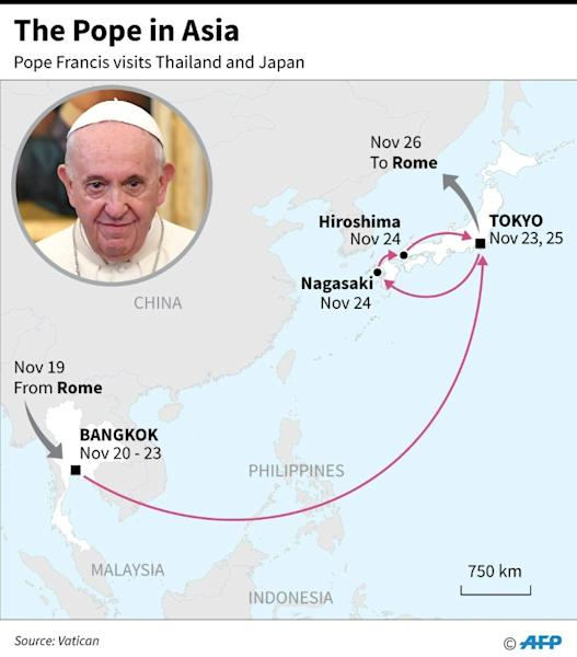 Map showing the route and dates of Pope Francis' Asia visit, Nov 19-26. (AFP Photo/Laurence CHU)