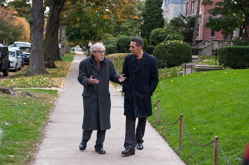 "This image released by Millennium Entertainment shows Woody Allen, left, and John Turturro in a scene from ""Fading Gigolo."" (AP Photo/Millennium Entertainment, JoJo Whilden)"