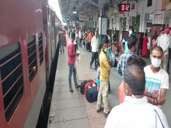 Passengers gathered at Ludhiana railway station as trains run behind schedule. (Photo/ANI)