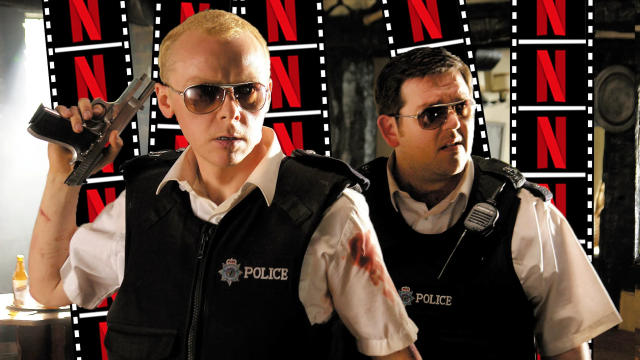 Simon Pegg and Nick Frost in 'Hot Fuzz'. (Credit: Universal)