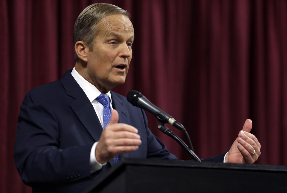 <p> Rep. Todd Akin, R-Mo., speaks during the first debate in the Missouri Senate race Friday, Sept. 21, 2012, in Columbia, Mo. (AP Photo/Jeff Roberson) </p>