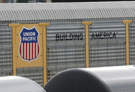 FILE PHOTO: A Union Pacific rail car is parked at a Burlington National Santa Fe (BNSF) train yard in Seattle